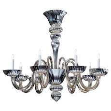 Venetian mercury glass nine light chandelier