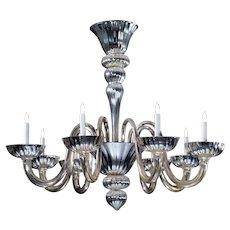 Venetian mercury glass nine light chandelier
