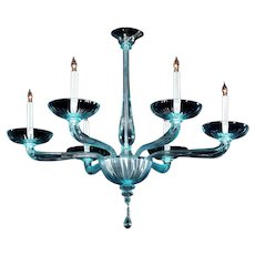 Venetian aquamarine glass six light chandelier