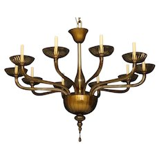 Venetian Amber Glass Ten Light Chandelier In The Style Of Barvovier & Toso, Wired. Can Be Custom Sized And Colored. Lead time 14-16 weeks.