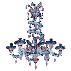 "Venetian ""SWIRL"" multicolor six light glass chandelier. Can be custom finish. Lead time 14-16 weeks."