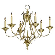 DUTCH Style six light brass chandelier.Can be custom finish. Lead time 14-16 weeks.