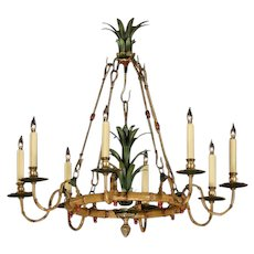 """BAMBOO"" Motif painted iron eight light chandelier"