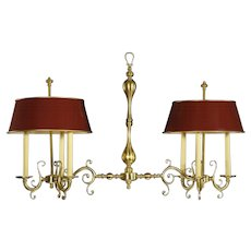 Brass billiard chandelier, six light with matched tole shades. Lead time 14-16 weeks.