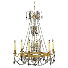 BALTIC Style gilded bronze and crystal six light chandelier.Lead time 14-16 weeks.