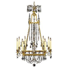 BALTIC Style gilded bronze and crystal eight light chandelier. Lead time 14-16 weeks.