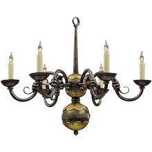 Forged iron and bronze six light chandelier. Lead time 14-16 weeks.