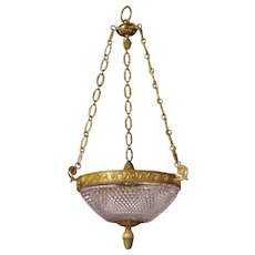 Cut crystal and gilt bronze three light pendant