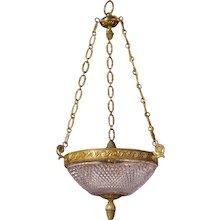 Cut crystal and gilt bronze three light pendant