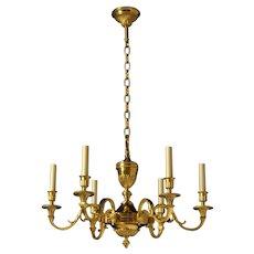 LOUIS XVI Style gilded bronze six light chandelier. Lead time 14-16 weeks.