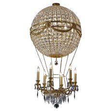 """""""MONTGOLFIER"""" gilded bronze and crystal six light chandelier. Lead time 14-16 weeks."""