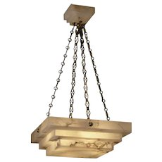 ART DECO Style four light square stepped alabaster pendant with matching canopy. Lead time 14-16 weeks.