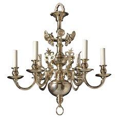 DUTCH Style gilded brass six light chandelier. Lead time 14-16 weeks.