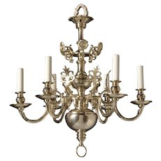 DUTCH Style silvered brass six light chandelier. Lead time 14-16 weeks.