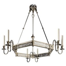 Nickeled bronze six light hexagonal fretwork chandelier. Lead time 14-16 weeks.