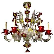 """VENETIAN """"Poppy"""" motif six light chandelier. Lead time 14-16 weeks."""