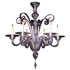 ART DECO Style Venetian alexandrite six light chandelier. Lead time 14-16 weeks.