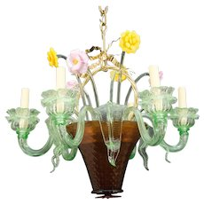 """BOUQUET"" Six Light Venetian Glass Chandelier With Colored Flowers And Leaves"