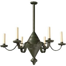 French Provincial style green painted tole six light chandelier.Lead time 14-16 weeks.