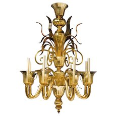 """FIAMMA"" Venetian glass eight light chandelier"