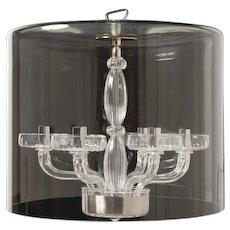 """SCHERMO"" Clear fluted Venetian glass six light chandelier"