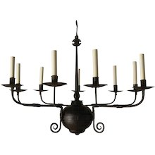 """Forged iron nine light """"FRENCH COUNTRY"""" Style chandelier. Lead time 14-16 weeks."""