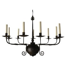 "Forged iron nine light ""FRENCH COUNTRY"" Style chandelier. Lead time 14-16 weeks."