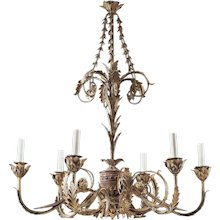 ADAM Style six light iron and tole chandelier. Lead time 14-16 weeks.
