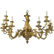 Regency gilt bronze fifteen light chandelier