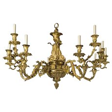Regency gilt bronze fifteen light chandelier