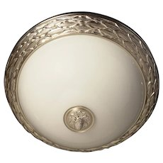 """LAUREL"" Motif three light flushmount with gilded bronze border, three lights NOTE: Shown here in silvered bronze."