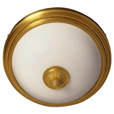 Gilded bronze and opaline glass flush mount with beaded border