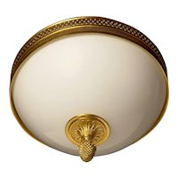 Gilded bronze and opaline glass flushmount with diamond banding, two lights