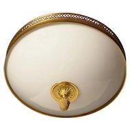 Gilded bronze and opaline glass flushmount with diamond banding, three lights