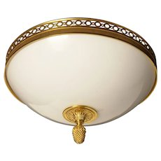 Gilded bronze and opaline glass flushmount with open circle banding, three lights