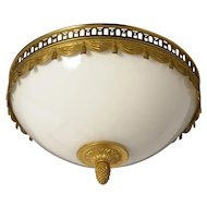 "Gilt Bronze ""Swag & Tasssel"" flushmount with opaline glass, two lights"