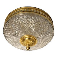 Cut crystal and gilded bronze two light flushmount
