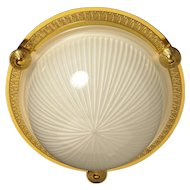 Gilded bronze and ribbed glass flushmount, one light