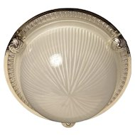 Gilded bronze and ribbed glass flush mount with button, one light