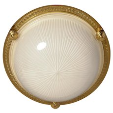 Gilded bronze and ribbed glass flushmount, two lights
