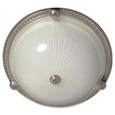 Nickeled bronze and ribbed glass flush mount with button, two lights