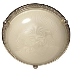 Nickeled bronze and ribbed glass flush mount, two lights