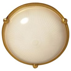 Gilded bronze and ribbed glass flush mount, three lights
