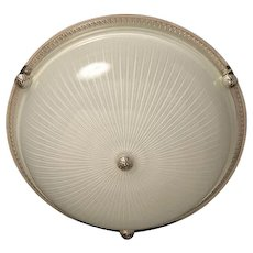 Nickeled bronze and ribbed glass flushmount with button, three lights