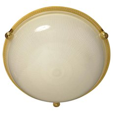 Gilded bronze and ribbed glass flushmount, three lights