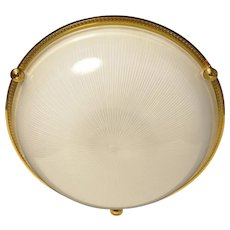 Gilded bronze and ribbed glass flushmount, four lights