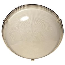 Nickeled bronze and ribbed glass flushmount, four lights