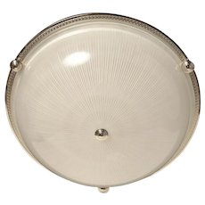 Nickeled bronze and ribbed glass flush mount with button, four lights