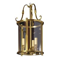 GEORGIAN Style gilded bronze three light lantern