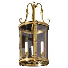 LOUIS XVI Style gilded bronze three light lantern